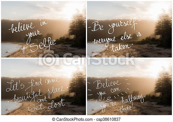 Collage De Fotos De Textos Motivacionales Escritos A Mano