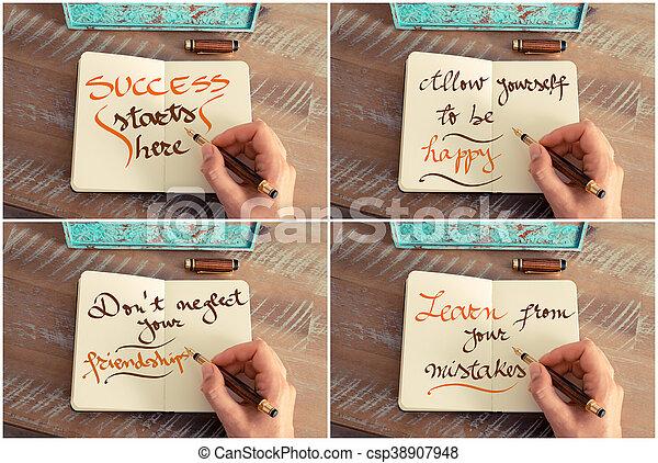 Un Collage De Fotos De Mensajes Motivacionales Escritos A