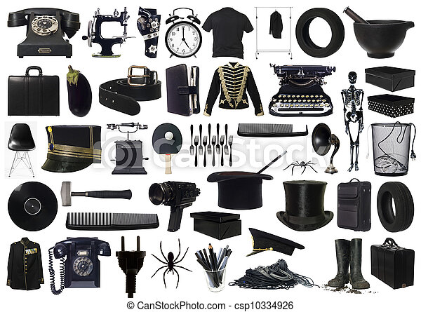collage, gegenstände, schwarz - csp10334926