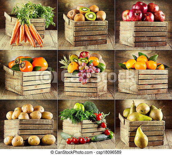 collage, grønsager, adskillige, frugter - csp18096589