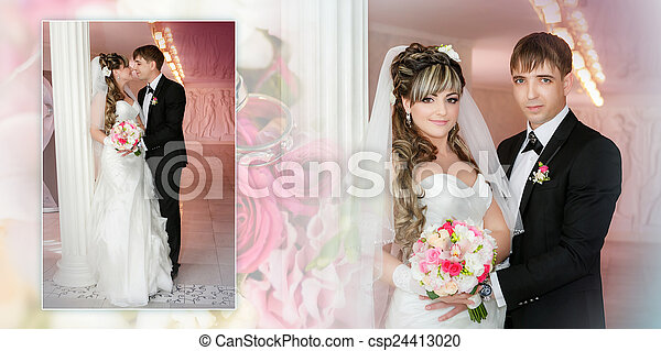 Collage - groom and the bride with a wedding bouquet stand near a white column - csp24413020