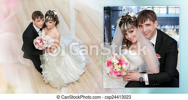 Collage - groom and the bride with a wedding bouquet from roses in a hand - csp24413023