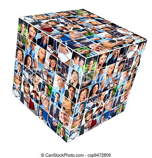 collage., grupa, handlowy zaludniają - csp9472809