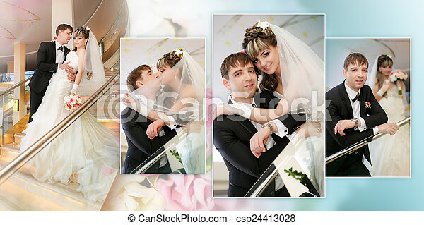 Collage - Happy bride and groom on ladder at hotel - csp24413028