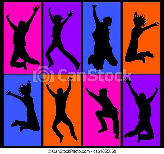 collage, heureux, sauter, gens - csp1855060