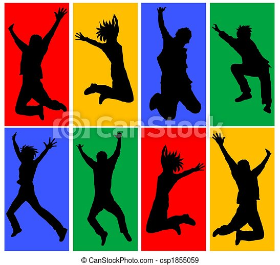collage, heureux, sauter, gens - csp1855059