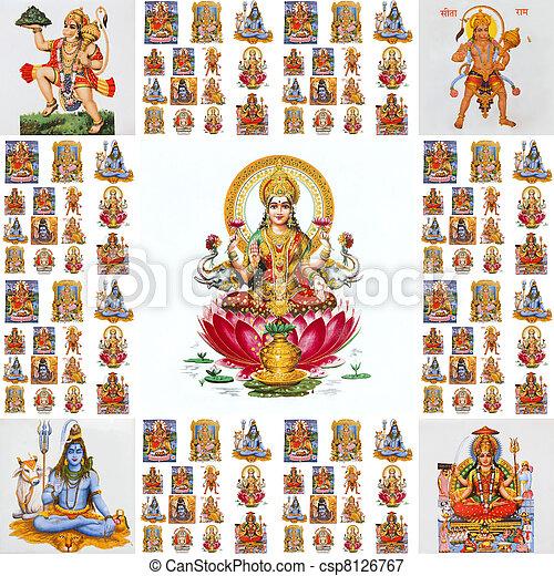 Collage con dioses hindúes - csp8126767