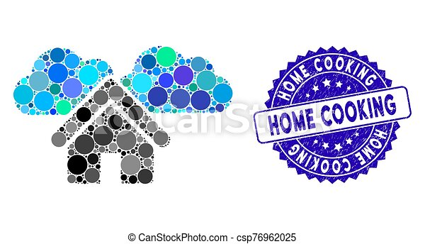 Collage Home Icon with Grunge Home Cooking Stamp - csp76962025