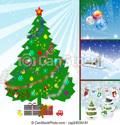 Collage Illustration Of Christmas Collage Illustration Of Winter Season Canstock