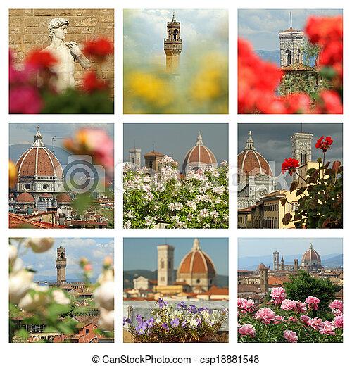 collage, imágenes, florencia, floral - csp18881548