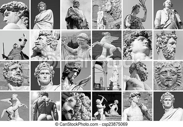 collage, imágenes, italia, esculturas, florencia - csp23875069