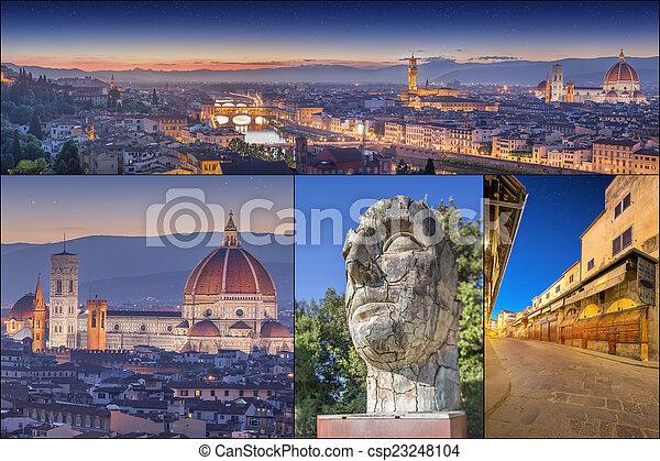 Collage con imágenes de Florencia, Italia - csp23248104