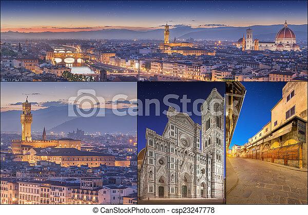 Collage con imágenes de Florencia, Italia - csp23247778