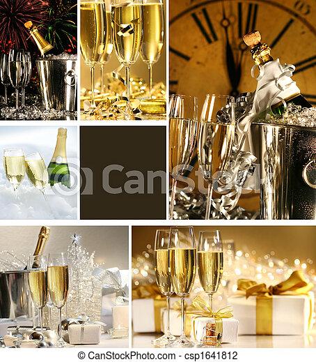 collage, immagini, champagne, anni nuovi - csp1641812