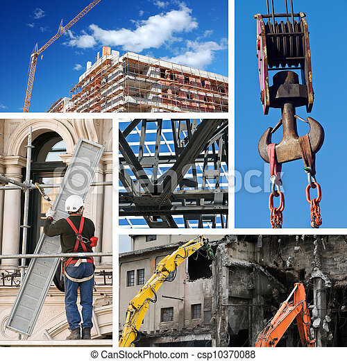 collage, industrie, bouwsector - csp10370088