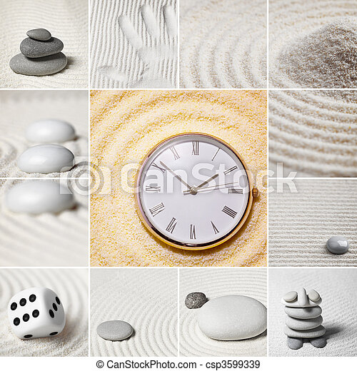 Collage - Japanese garden of stones. Time. - csp3599339