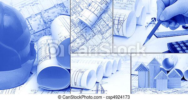 collage, konstruktion, begrepp, -, blåkopior - csp4924173