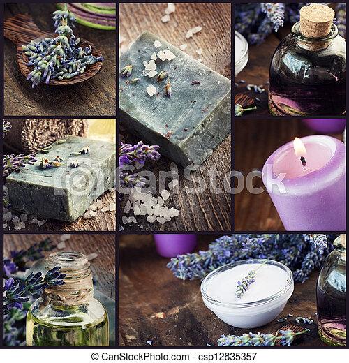 collage, lavande, dayspa - csp12835357