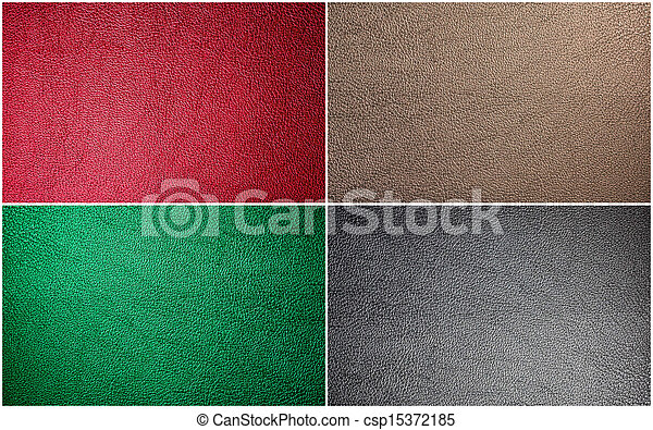 Collage Leather Texture For Background (Set Of Leather Texture Made From Deer Skin (Red, Green, Black, Beige) - csp15372185