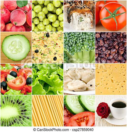 collage, lebensmittel, hintergruende, gesunde - csp27859040