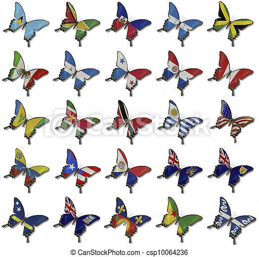 collage, mariposas, banderas, norteamericano - csp10064236