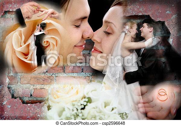 collage, matrimonio - csp2596648