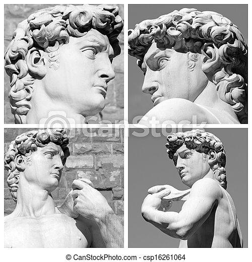 Collage con imágenes de David Escultura de Miguel Ángel, pia signozzaria, flora, toscana, Italia, Europa - csp16261064