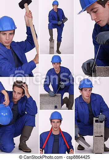 Collage of a construction worker - csp8864425