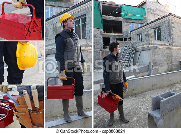 Collage of a construction worker - csp8863824