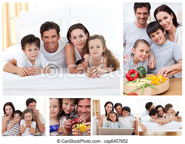 Collage of a family spending time together at home - csp6457652