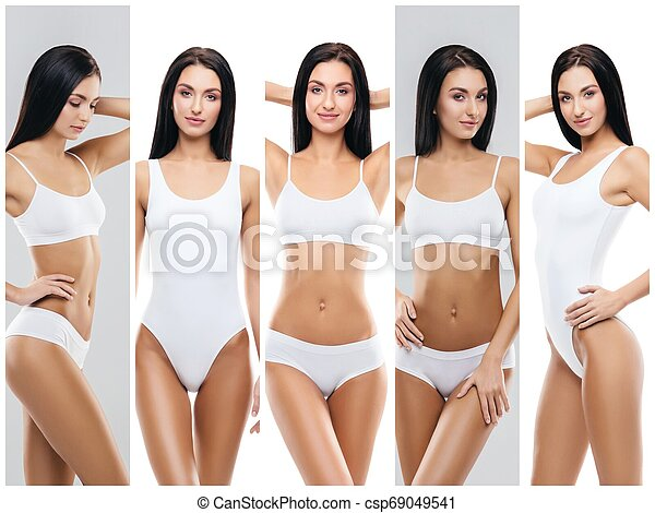Collage of a female body with arrows. Fat lose, health, sport, fitness, nutrition, liposuction, healthy life-style concept. - csp69049541