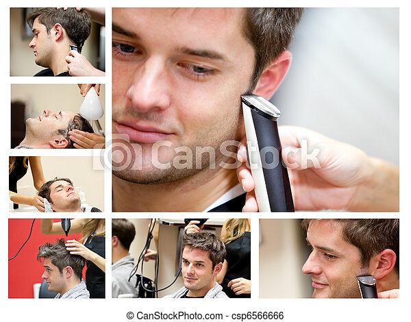 Collage of a young man at the hairdresser - csp6566666