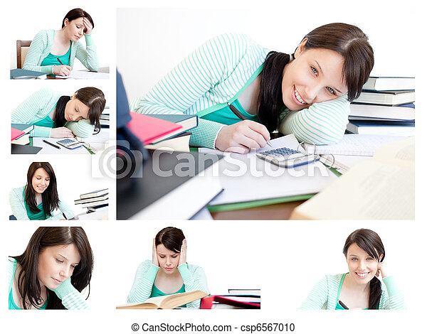 Collage of a young woman studying - csp6567010