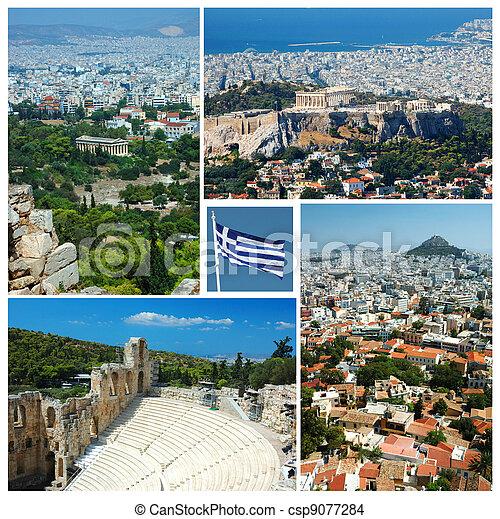 Collage of Athens landmarks , Greece - csp9077284