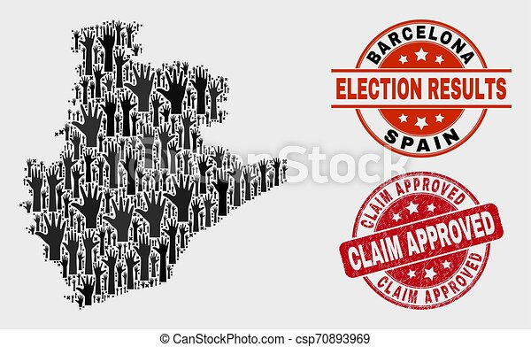 Collage of Ballot Barcelona Province Map and Distress Claim Approved Stamp Seal - csp70893969