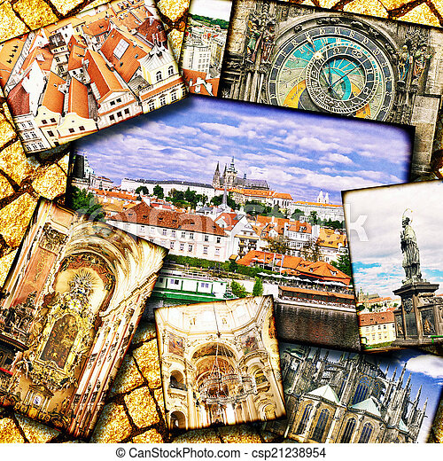 Collage of beautiful Prague. - csp21238954
