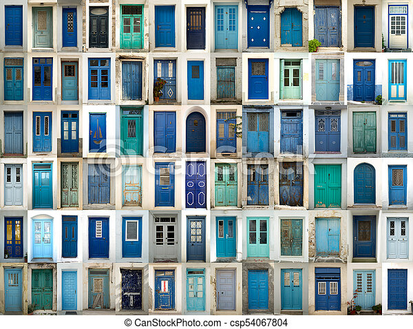 collage of blue doors a collage of greek doors all in blue tonality