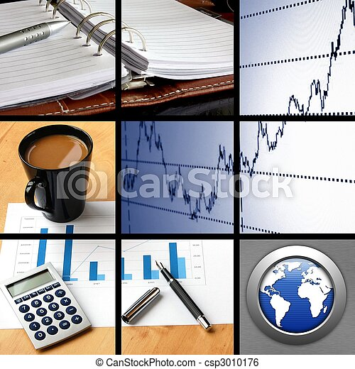 collage of business or finance - csp3010176