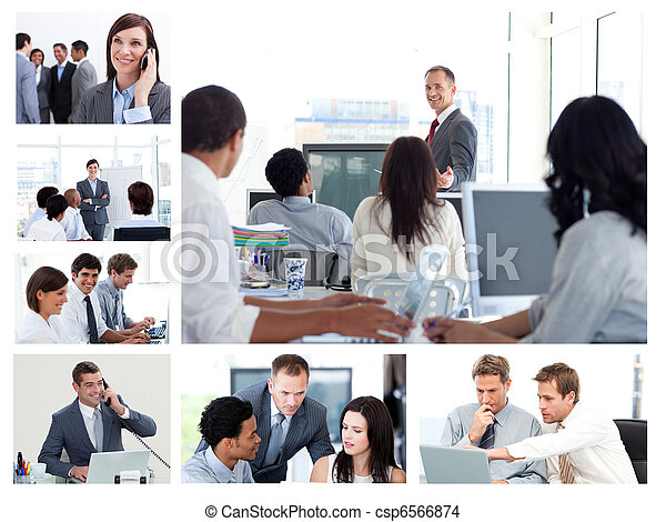 Collage of business people using technology - csp6566874