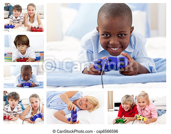 Collage of children playing video games - csp6566596