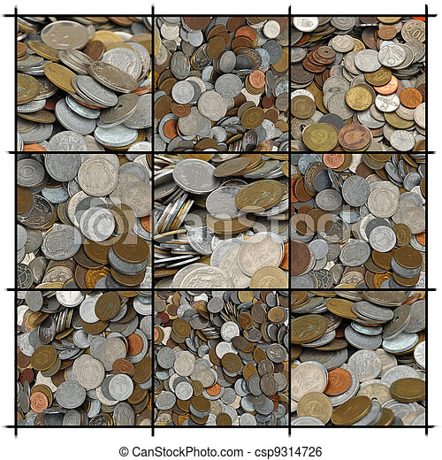 Collage of Coins - csp9314726