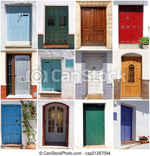 Collage Of Colorful Spanish Front Doors