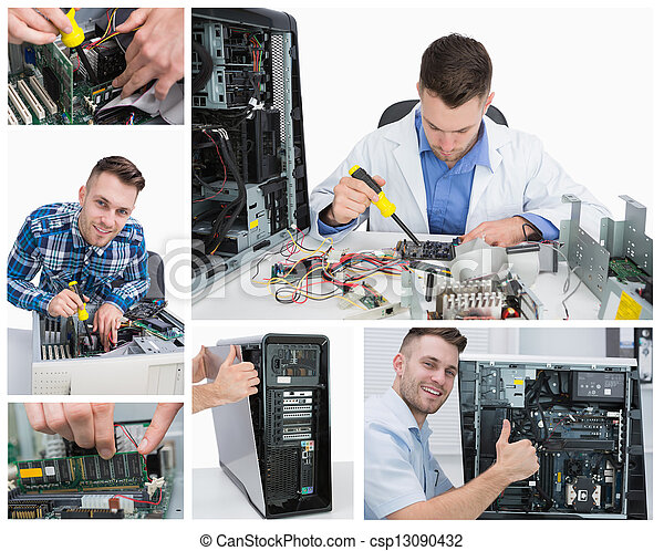 Collage of computer technician at work - csp13090432