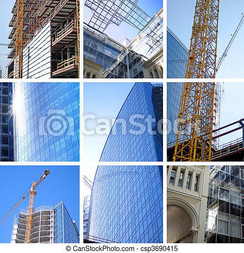 collage of construction - csp3690415