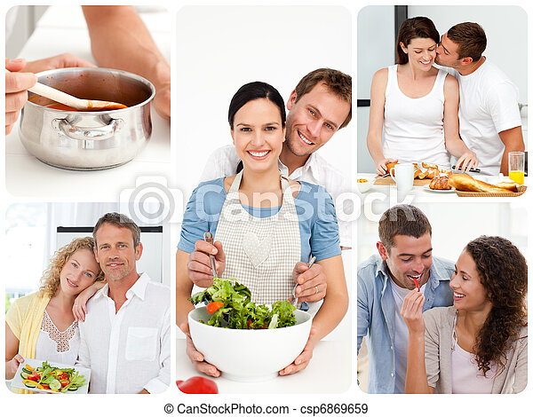 Collage of couples in the kitchen - csp6869659