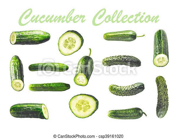 Collage of cucumbers on the white background - csp39161020