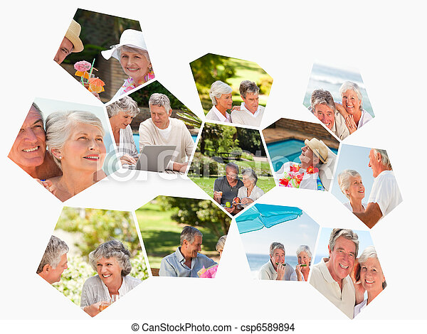 Collage of different elderly couples spending time together - csp6589894