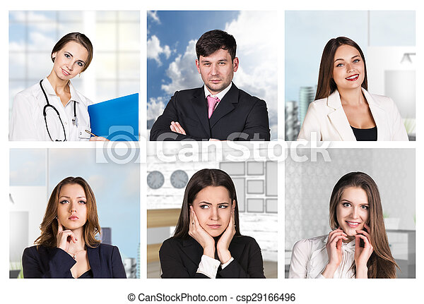 Collage of different portraits - csp29166496