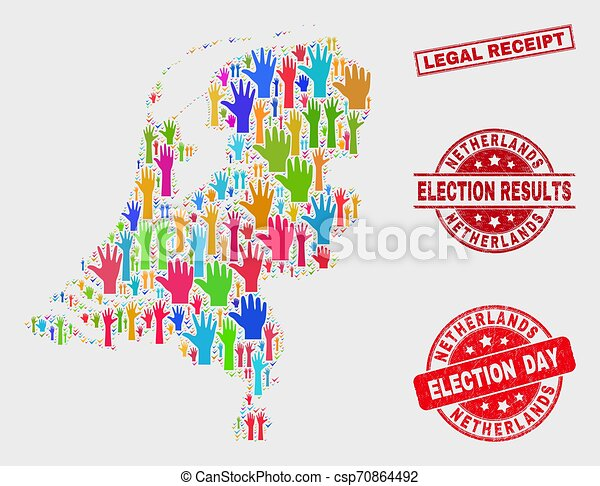Collage of Election Netherlands Map and Scratched Legal Receipt Stamp Seal - csp70864492