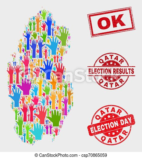 Collage of Election Qatar Map and Scratched OK Stamp Seal - csp70865059
